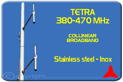 Protel Tetra COLLINEAR 2 dipoles BROADBAND  ARDU.02 380-470MHz Stainless Steel