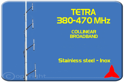 Protel Tetra COLLINEAR 4 dipoles BROADBAND  ARDU.04 380-470MHz Stainless Steel